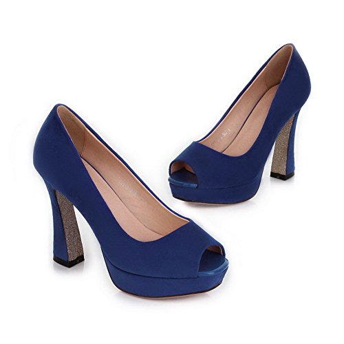 VogueZone009 Womens Open Peep Toe High Heel Platform Chunky Heels PU Frosted Solid Pumps, Blue, 4.5 UK