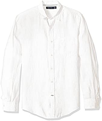 Nautica Long Sleeve Solid Color Button Down Linen Shirt