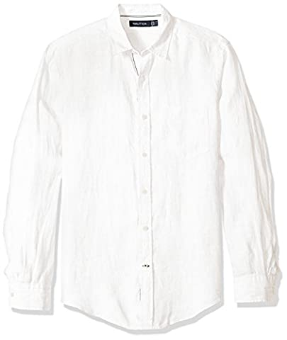 Nautica Men's Long Sleeve Solid Color Button Down Linen Shirt, Bright White, Small (Nautica Men Solid)