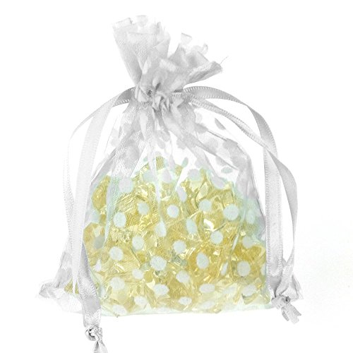 - Polka Dots Organza Gift Pouch, 4-Inch x 5-Inch, 6-Pack (White/Black)