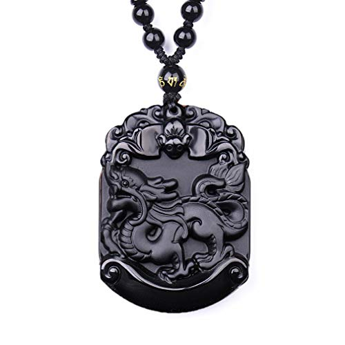 Black Obsidian Pendant Necklace, Pendant Made of Obsidian Gemstone Horoscope Animal Sign Amulet Hand Carved Natural Genuine with Extend Bead Chain