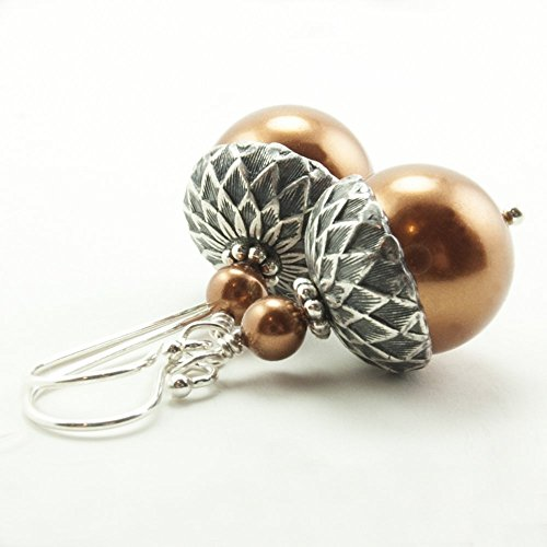 Acorn Drop Earrings (Acorn Earrings made with Copper Colored Simulated Pearls from Swarovski, Sterling Silver Earwires)