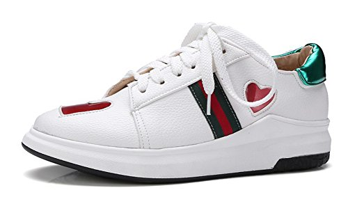 Aisun Women's Casual Heart Round Toe Thick Sole Platform Lace Up Sneakers Skateboard Shoes White 9.5 B(M) US Review