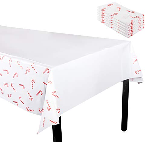 Juvale Christmas Plastic Tablecloth - 6-Pack 54 x 108-Inch Rectangular Disposable Table Cover, Perfect for Holiday Buffet Banquet or Long Picnic Tables, Festive Candy Cane Design, White, 4.5 x 9 Feet -