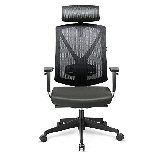 INTEY Office Chair Ergonomic Mesh Chair High Back Chair Quadruple Protection for Cervical, Shoulder, Lumbar, Coccyx, Breathable and Comfortable to Reduce Fatigue, with Silent Pulley, Adjustable Headre