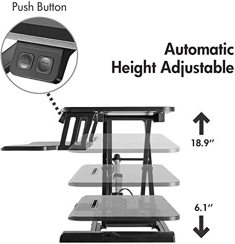Boonliving Adjustable Desk Sit Stand Desk Computer Riser Standing Desk for Home and Office Use Ergonomic Workstation 31.5 Wide Table Top, Height Adjustable Up to 15.6, Black