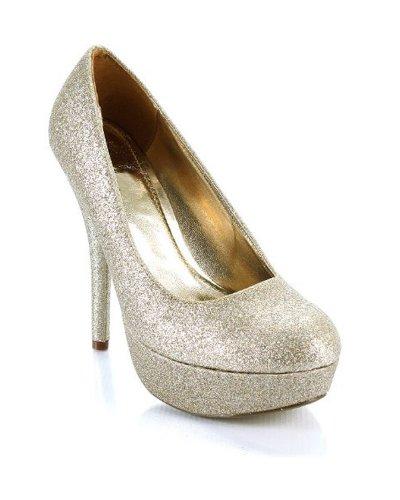 Guld Glitter Formell Rund Tå Plattform Stilett Pump