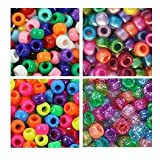 Rainbow Bright Multi Color 6 x 9mm Plastic Craft Pony Beads, 4 Bags Variety Pack (about 2000 beads) Beads Kit Gift Set