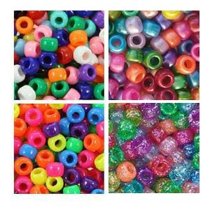 Rainbow Bright Multi Color 6 x 9mm Plastic Craft Pony Beads, 4 Bags Variety Pack (about 2000 beads) Beads Kit Gift Set by Pony Beads by Bead Bee