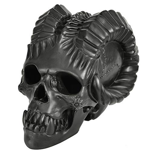 Myard Fireproof Demon Fire Pit Skull (Hollow, Flame from Eye Holes) Gas Log for Fireplace, Firepit, Camp Fire, Halloween Decor (Qty 1, Black)