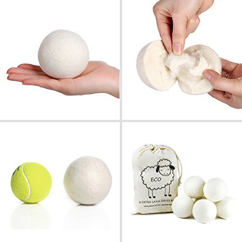 Large Product Image of SnugPad Wool Dryer Balls by 6-Pack, XL Size Premium Reusable Natural Fabric Softener