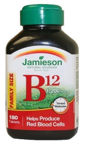 Jamieson Vitamin B12 (Cobalamin) 1200mcg, Timed Release, 180tablets