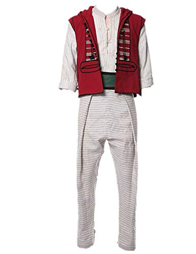 Crubelon Mens New Arabian Prince Halloween Costume Aladdin Street Rat Suits (M) White -