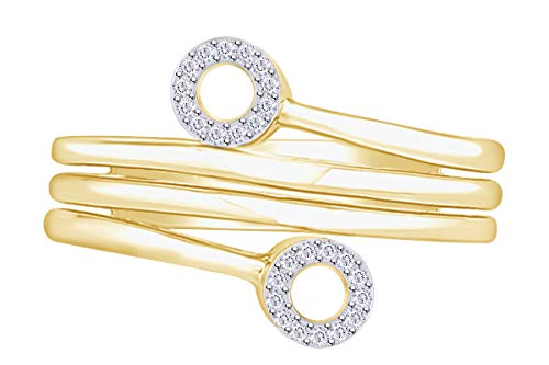 Aria Jewels White Diamond Wrap Fashion Cocktail Ring in 14K Yellow Gold Over Sterling Silver (0.06 cttw) Ring Size - 8