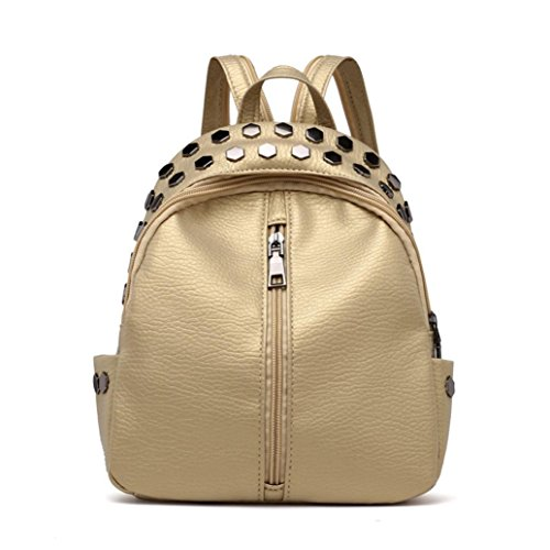 YJYDADA Bags,Vintage Women's Rivets Leather Backpack Satchel Travel School Rucksack Bag (Gold) from YJYDADA