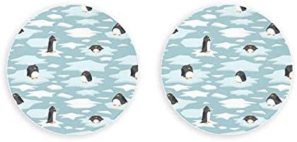 Lindo pingüino de dibujos animados azul hielo blanco abridor de botellas 2 piezas abridor de botellas magnético de nevera abridor de botellas