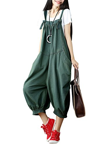 Yeokou Women's Loose Baggy Denim Wide Leg Jumpsuit Rompers Overalls Harem Pants (One Size US S-L, Style-89-Green-002)