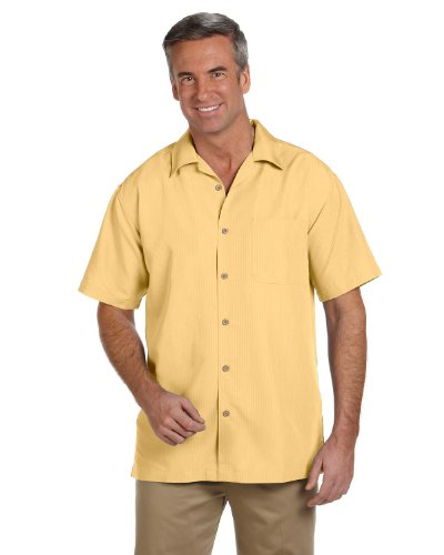 Harriton Men's Barbados Textured Camp Shirt, PINEAPPLE, (Textured Classic Shirt)