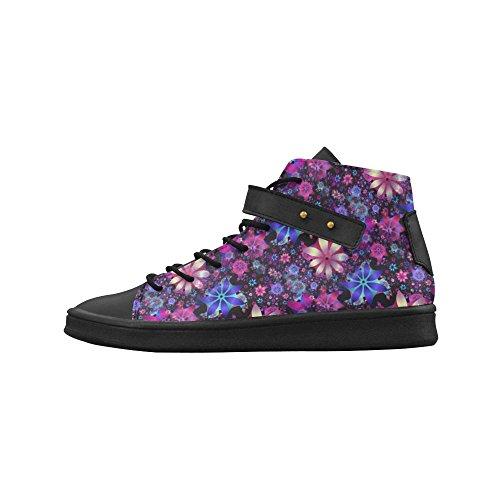 D-story Round Toe High Top Zapatos Floral Storm Mujeres Zapatillas De Deporte