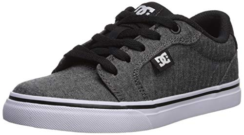 DC Boys' Anvil SE Skate Shoe, Black/Herringbone, 7 M US Big Kid