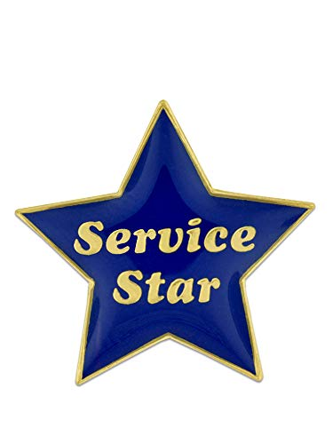 PinMart Service Star Blue and Gold Customer Service Lapel Pin