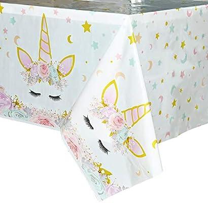 WERNNSAI Mantel del Unicornio - 2 Piezas 110 x 180 cm Suministros de Fiesta Unicornio Mágico para Niños Chicas Cumpleaños Boda Baby Shower Decoración, ...