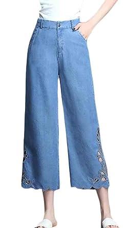 Pantalones Vaqueros de Cintura Alta y Pierna Ancha para ...