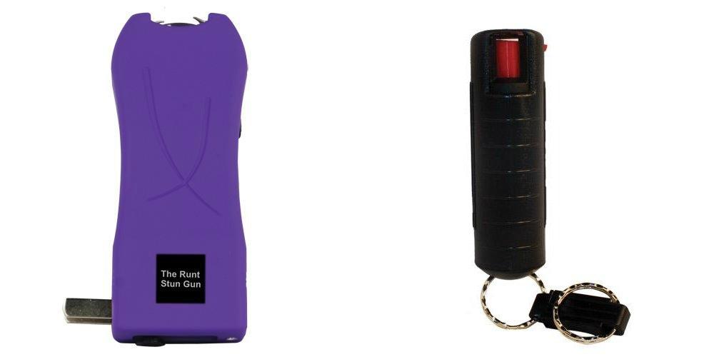 Runt Purple Stun Gun with Flashlight and Pepper Spray Bundle