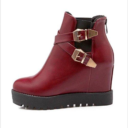 Otoño e invierno de moda bajo highHeel botas zapatos casuales cabeza redondo red