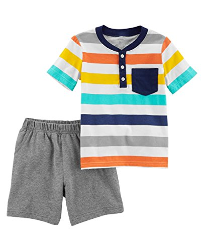 Carters Boys Newborn-5T 2 Piece Short Sleeve Striped Jersey Top and French Terry Shorts Set,Heather/Stripe,6 Months