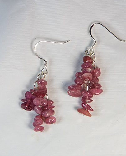 "Cynthia Lynn ""OCTOBER GIRL"" Pink Tourmaline Pebble Cluster Silver Drop Earrings"