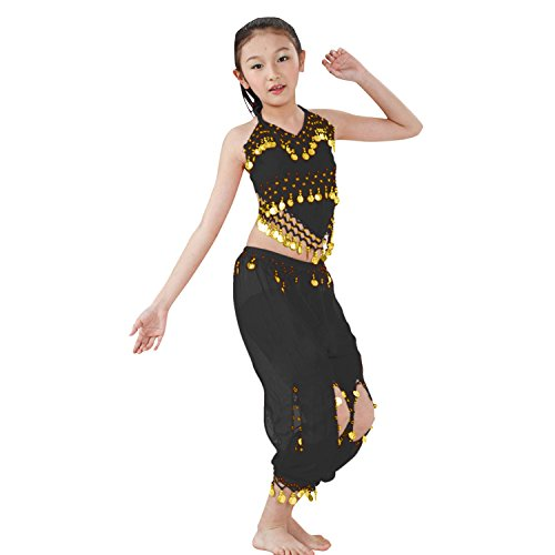 Hip Shakers Kids Professional Belly Dance Genie Costume with Gold Coins (Black Genie Costume)