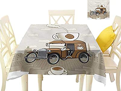 familytaste Custom tablecloths Cars,Old Fashioned Car with Coffee Cup on The Top Caffeine Beverage Hot Drink,Caramel Cocoa White Table in Washable Polyester