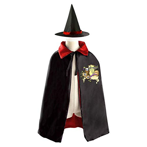 69PF-1 Halloween Cape Matching Witch Hat Corpse Flower Wizard Cloak Masquerade Cosplay Custume Robe Kids/Boy/Girl Gift -