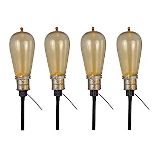 4 Pack Led Edison Bulb Flickering Path Markers Halloween Prop Decoration