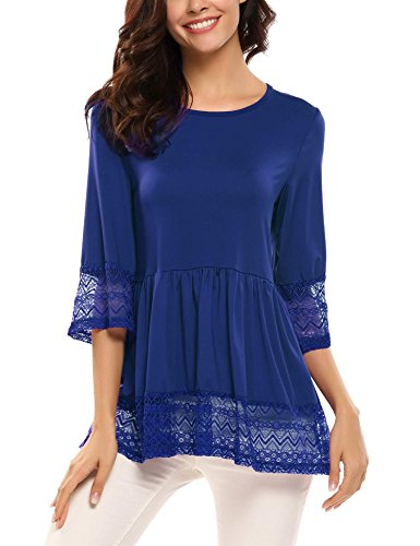 SoTeer Womens Casual 3 4 Sleeve Cute Babydoll Ruffle Flare Lace Tunic Tops T Shirts Loose Blouse Blue M