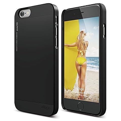 iPhone 6S Case, elago [Outift][Soft feel Black / Black] - [Premium Hybrid Construction][Dual Toned][Spark Design Award] - for iPhone (Phone Covers For Iphone 6 Elago)