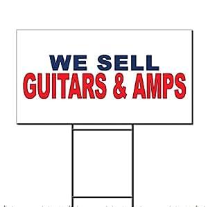Vendemos guitarras y amplificadores azul rojo plástico corrugado Yard Sign/libre juego 12x 18pulgadas Dos Lados Color