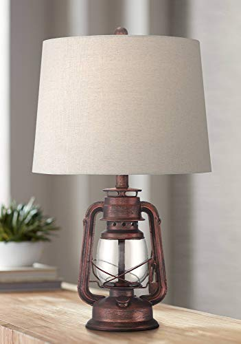 Murphy Rustic Industrial Accent Table Lamp Miner Lantern Red Bronze Clear Glass Oatmeal Fabric Drum Shade for Living Room Bedroom Bedside Nightstand Office Family - Franklin Iron Works (Rustic Lamps Clearance)