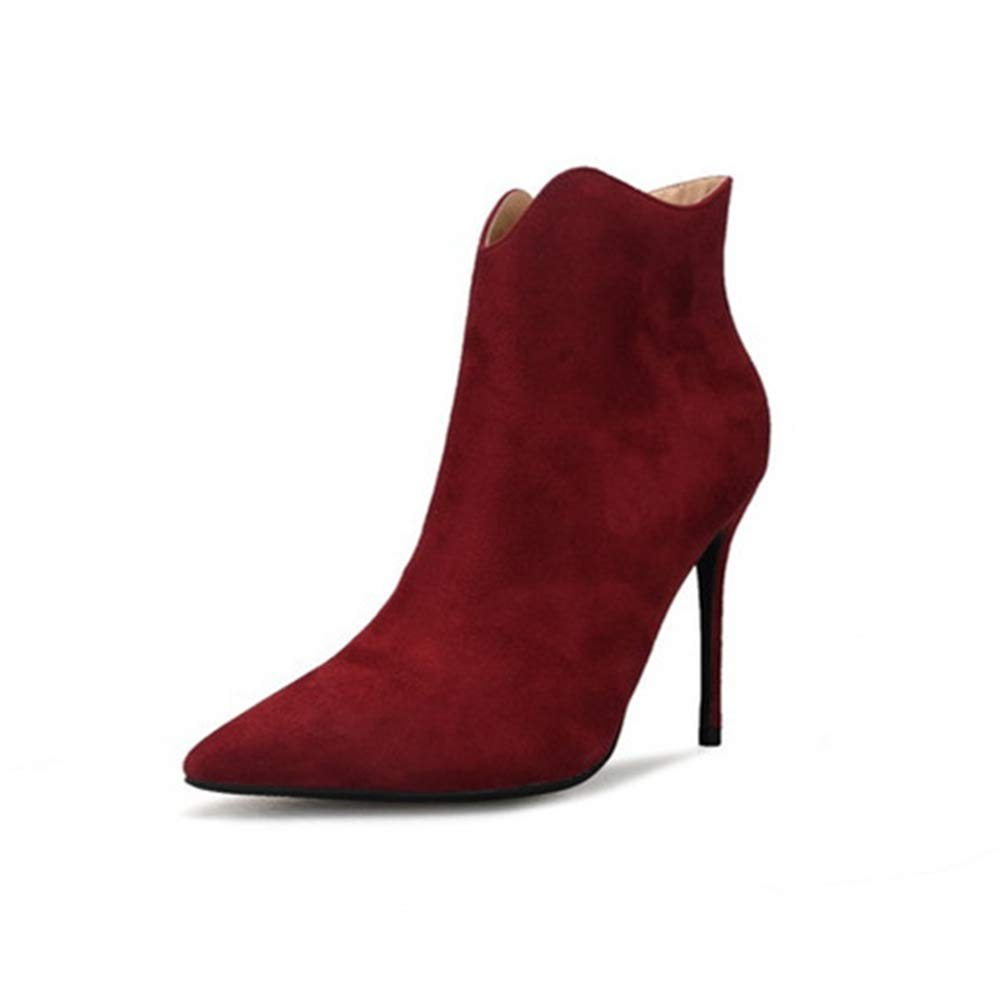 HNschuhe Frauen Stilettschuhe Stiefeletten Knöchel Stiefel Damen Spitzschuh Reißverschluss Mode Hoher Absatz Kalb Faux Wildleder Stiefelies Schuhe Größe 35-42