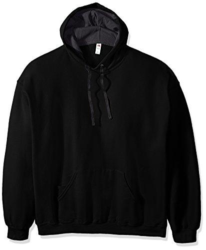 Fruit of the Loom Men's Hooded Sweatshirt,Black,XX-Large -