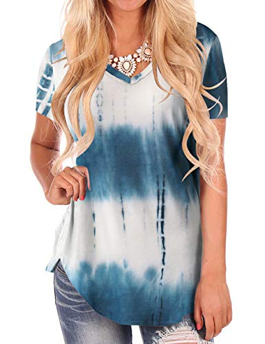 Tie Dye Shirts for Women Soft Summer Tops Short Sleeve V Neck Tunics Blue ()