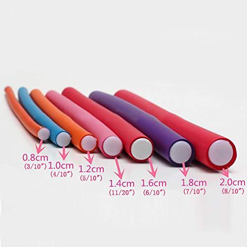 """1.8cm Diameter Flexi Rod 2 Pack Deal Spiral Hair Foam Curler Roller Set, 10 Rods per Pack Twist Curls Flex Rods, Length 9"""""""