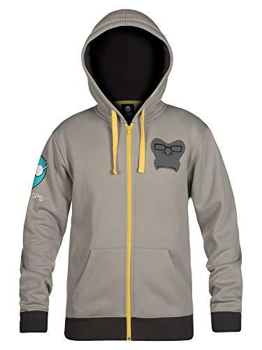 JINX Overwatch Ultimate Winston Zip-Up Hoodie (Gray, Medium)
