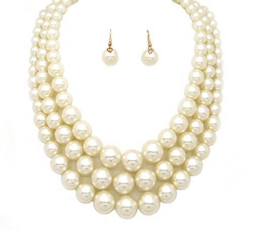 (Fashion 21 Women's Three Multi-Strand Simulated Pearl Statement Necklace and Earrings Set (Cream))