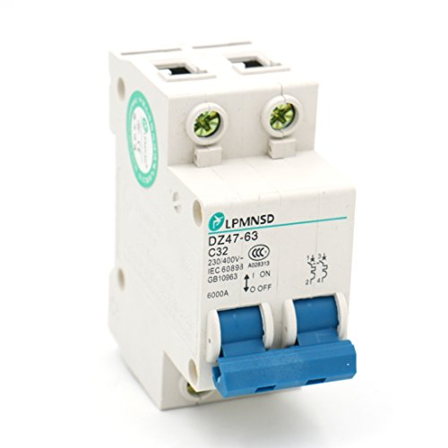 Baomain Miniature Circuit Breaker DZ47-63 C32 AC 230V 400V 32Amp 2 Pole DIN Rail - Component Mounting Pole
