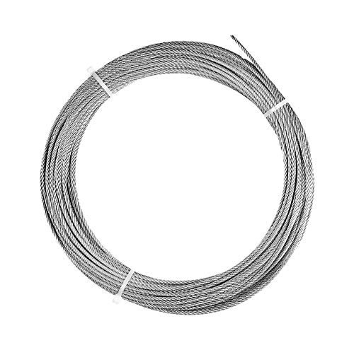 Nylon Coated 480 lbs Breaking Strength 1//8 Coated OD 25 Length Loos Stainless Steel 302//304 Wire Rope 1//16 Bare OD Orange 7x7 Strand Core