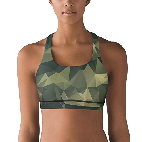 (Gustaix Zimund Women's Racerback Sport Bra Green Diamond camo Bra for Yoga Gym Running Fitness)