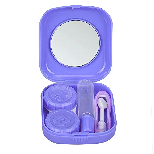 Clearance Sale!UMFun Cute Mini Contact Lens Easy Carry Case Travel Kit Container Box 5.1x5.8x1.6cm (Purple)]()