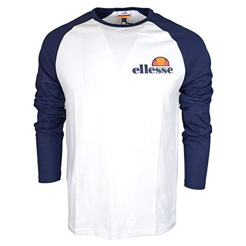 ellesse Thero Long Sleeve Optic White/Dress Blues Cotton T-Shirt XXL White